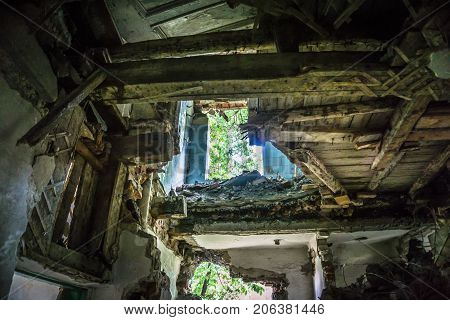 Ruined house building after disaster, war, earthquake, Hurricane or other natural cataclysm