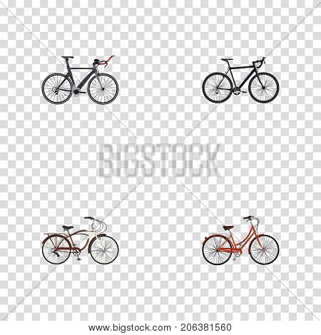 Realistic Cyclocross Drive, Competition Bicycle, Retro And Other Vector Elements