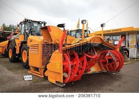 HYVINKAA FINLAND - SEPTEMBER 8 2017: Vammas B 400 snow blower mounted on JCB wheel loader of Finavia Oy on Maxpo 2017. The B 400 is used for heavy duty snow removal on airports.