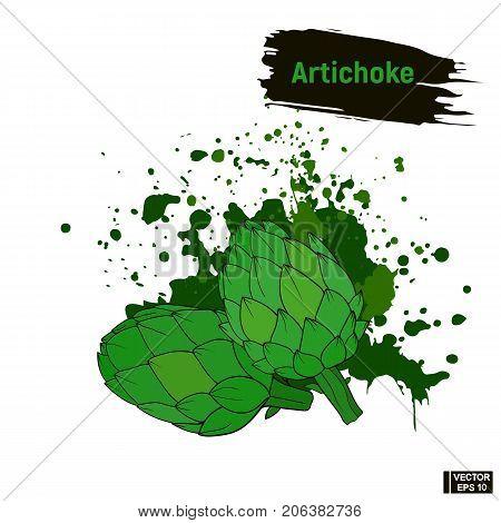 Artichoke Colored Sketch, Vegetarian Products.