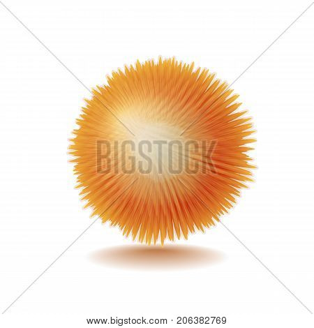 Vector realistic fluffy orange sphere. Furry soft round 3d isolated object. Fashion trend pompon style element