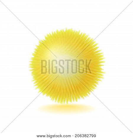 Vector realistic fluffy sphere. Furry soft round 3d isolated object. Fashion trend pompon style element