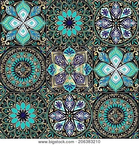 Colorful floral seamless pattern from squares with mandala in patchwork boho chic style, in portuguese and moroccan motif