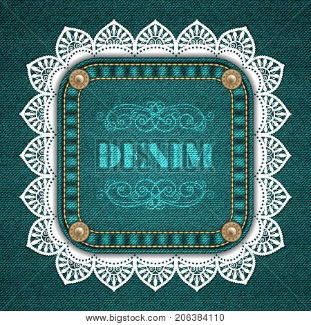 Square patch with rivets and lace border on denim background. Vector Illustration