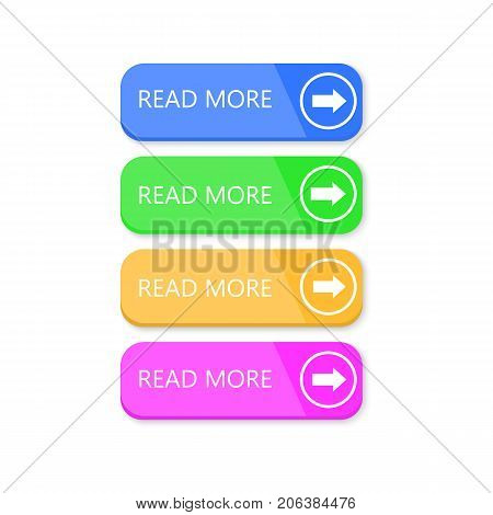 Read more buttons on white background. Vector icons.