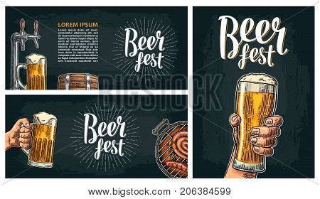 Poster for festival or invitation to party. Beer fest lettering with ray and wood barrel, hands holding glass, tap, wood barrel, barbecue. Vintage vector engraving illustration on dark background.