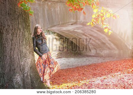 Beautiful girl leaning against a big tree with colorful leaves looking up enjoying the autumn atmosphere in Schwabisch Hall Germany.