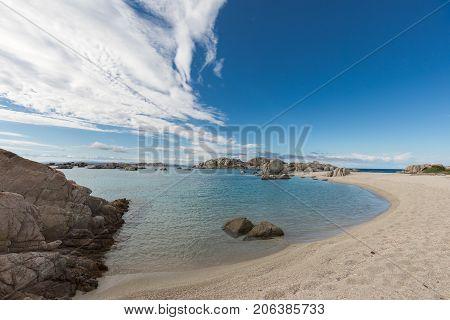 Rocky Coastline And Sandy Beach Of Cavallo Island Near Corsica