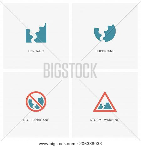 Hurricane logo set. Tornado, storm or twister and warning or stop signs - natural disaster and bad weather icons.