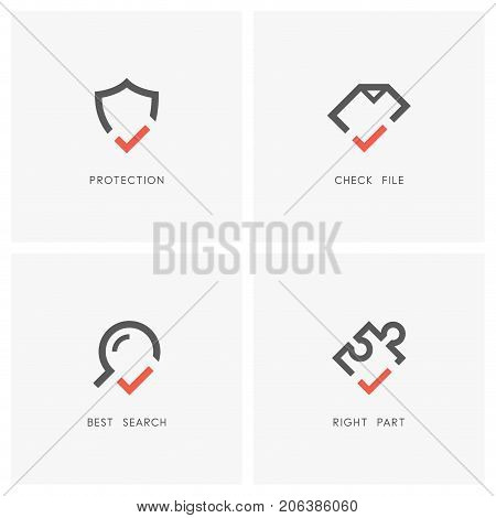 Check mark logo set. Shield, document or file, magnifying glass and puzzle piece with tick or checkmark symbol - protection and defense, agreement, search and jigsaw part icons.