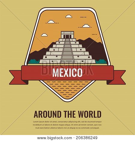 World landmarks. Mexico. Travel and tourism background. Line art style. Vector illustration