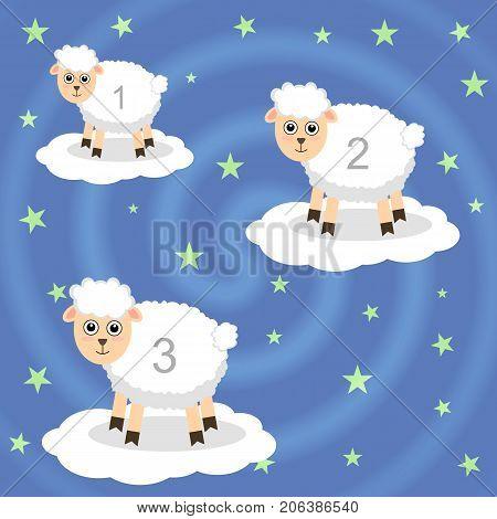 Lamb. To count in a dream. Cloud. Fall asleep. Children's. Calm down.