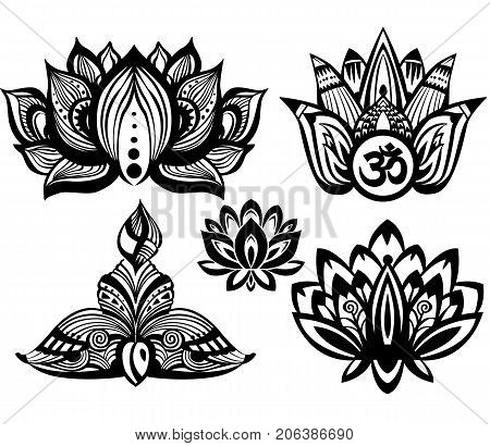 Set of Ornamental Lotus flowers in black and white