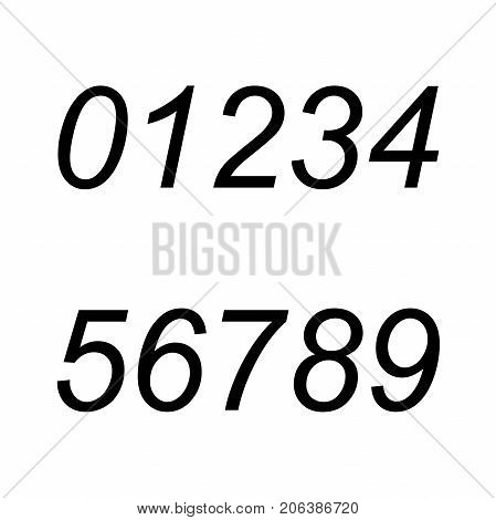 electronic figures black. The dial on a black background. Number - 1, 2 3 4 5 6 7 8 9 0 vector