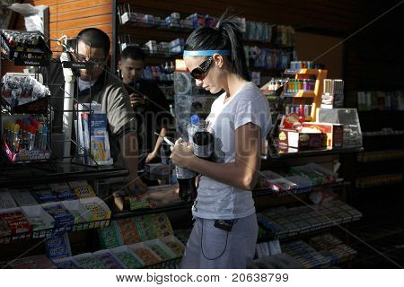 MALIBU - FEB 4: Katie Price fills up her car with gas and gets a few soft drinks for her friends in Malibu, California on February 4, 2009.
