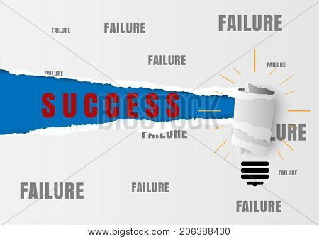 Against the current business concept as a metaphor for being impossible and strategy solutions problems with the idea as success text written under white torn paper filled with failure text.