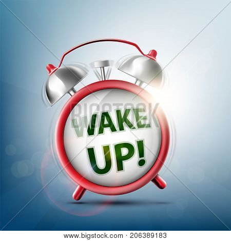 Icon ringing alarm clock. Wake up on the watch dial. Stock vector illustration.