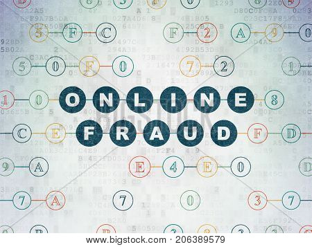 Security concept: Painted blue text Online Fraud on Digital Data Paper background with Hexadecimal Code