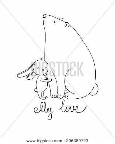 Lovely cartoon bear and hare. Happy animals. Isolated objects on white background. Vector illustration.