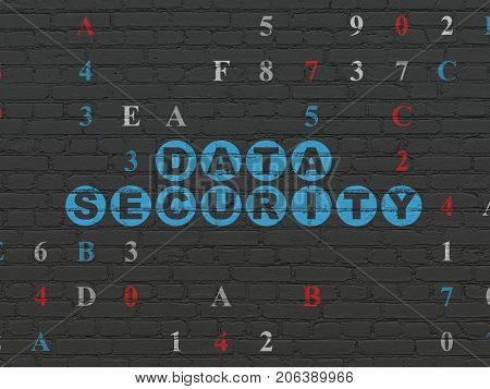 Safety concept: Painted blue text Data Security on Black Brick wall background with Hexadecimal Code