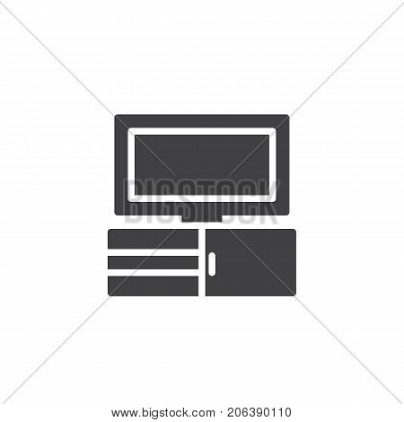 Tv icon vector, filled flat sign, solid pictogram isolated on white. Television symbol, logo illustration.