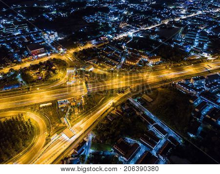 Aerial View Of Motorway At Juction