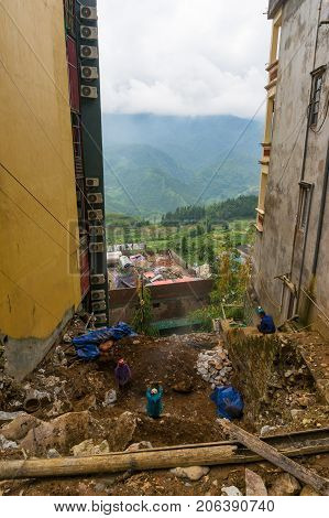 Workers At Construction Site In Sapa
