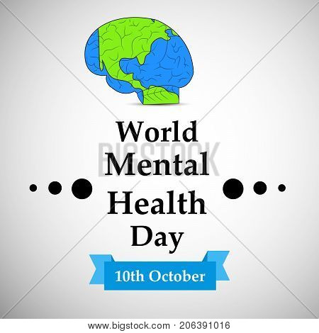 illustration of brain in earth background with World Mental Health Day 10th October text on the occasion of World Mental Health Day