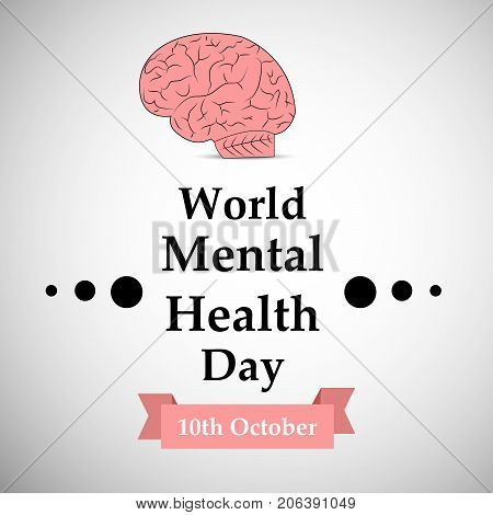 illustration of brain with World Mental Health Day 10th October text on the occasion of World Mental Health Day