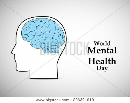 illustration of brain and face with World Mental Health Day text on the occasion of World Mental Health Day