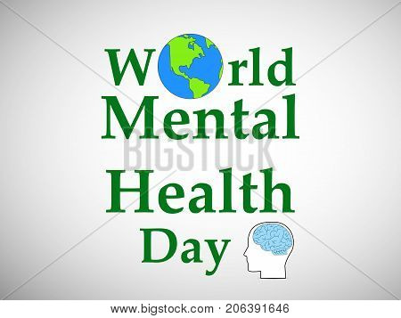 illustration of earth, brain and face with World Mental Health Day text on the occasion of World Mental Health Day