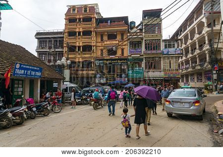 People And Traffic On Street Of Sapa Town