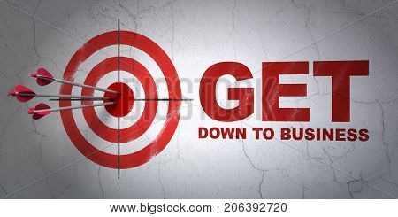 Success business concept: arrows hitting the center of target, Red Get Down to business on wall background, 3D rendering