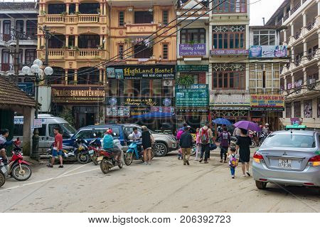 Sapa Town Square With Locals And Tourists