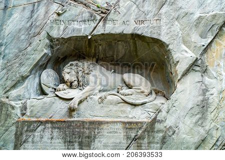 Lucerne Switzerland - October 21 2015: View of Dying Lion Monument of Lucerne in Switzerland