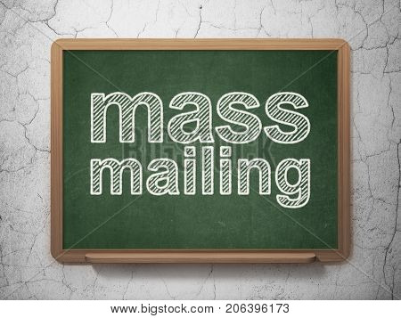 Marketing concept: text Mass Mailing on Green chalkboard on grunge wall background, 3D rendering