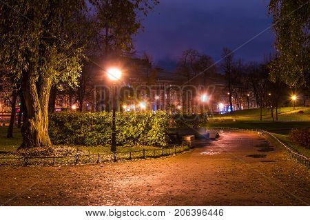 Dusk autumn view of park and footpath in Yusupov Garden Saint Petersburg Russia