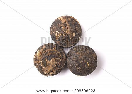 Pressed Puer tea isolated on white background