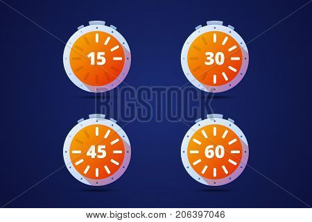 Set of round timers, preloaders. From 15 to 60 minutes or seconds. Vector illustration.