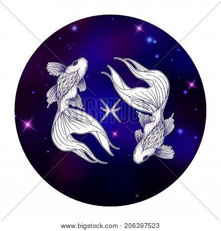 Pisces zodiac sign horoscope symbol vector illustration