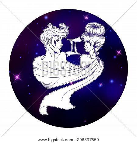 Gemini zodiac sign horoscope symbol vector illustration