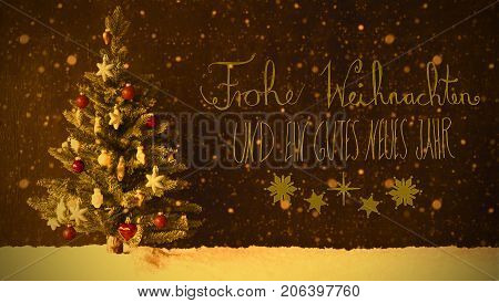 Retro Colorful Christmas Tree On Snow And Snowflakes. Black Background With German Calligraphy Frohe Weihnachten Und Ein Gutes Neues Jahr Means Merry Christmas And Happy New Year.