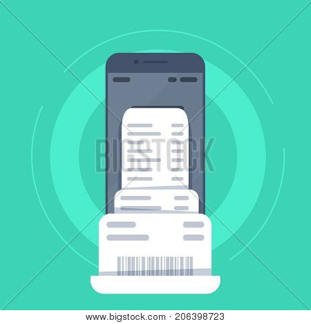 smartphone with invoice bill paper flat style mobile phone with invoice bill paper concept of online payment finance tax Vector illustration. Flat design.