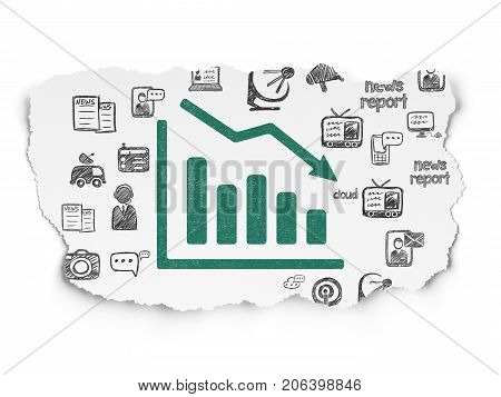 News concept: Painted green Decline Graph icon on Torn Paper background with  Hand Drawn News Icons