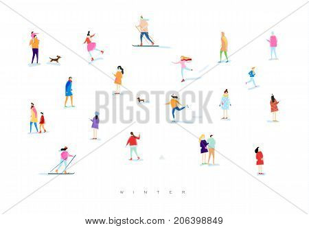 Illustrated people on a winter walk playing snowball skiing skating playing with kid and dog lovers walk drawing with color on white background
