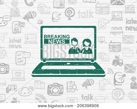 News concept: Painted green Breaking News On Laptop icon on White Brick wall background with  Hand Drawn News Icons