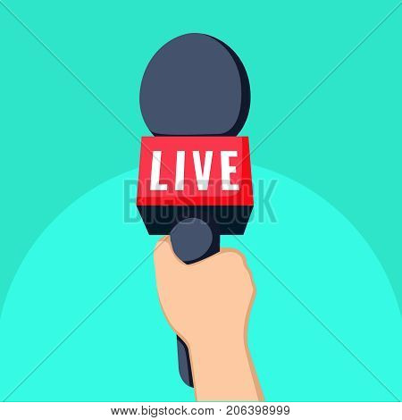 news TV and live recording concept cartoon illustration. hand and mic vector. Journalism on isolated focus concept and creative Microphone and one journalist flat design. Microphone icon