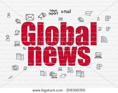 News concept: Painted red text Global News on White Brick wall background with  Hand Drawn News Icons