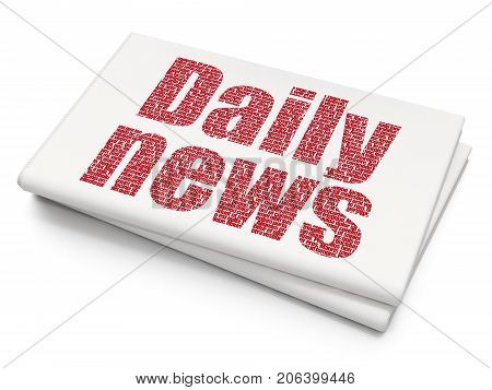 News concept: Pixelated red text Daily News on Blank Newspaper background, 3D rendering