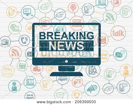 News concept: Painted blue Breaking News On Screen icon on White Brick wall background with Scheme Of Hand Drawn News Icons